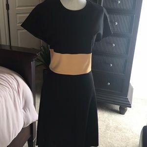 Anne Klein Sheath Black Dress with Gold waist.